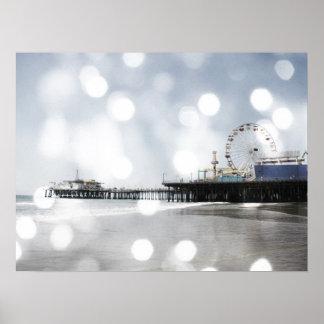 Santa Monica Pier Silver Grey Sparkles Photo Edit Poster