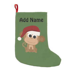 Santa Monkey Small Christmas Stocking