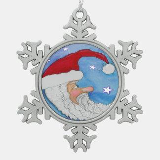 Santa Moon Snowflake Ornament