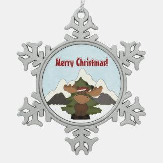 Santa Moose Mountain Snoflake Christmas Ornament