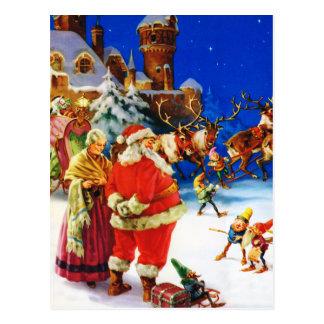 Santa & Mrs. Claus at the North Pole Christmas Eve Postcard