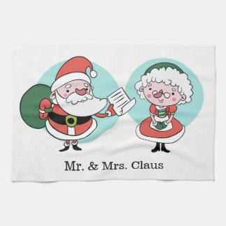 Santa & Mrs. Claus custom name kitchen towel
