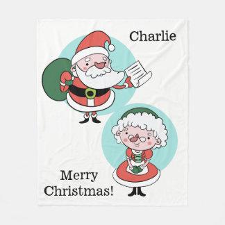 Santa & Mrs. Claus custom text fleece blankets