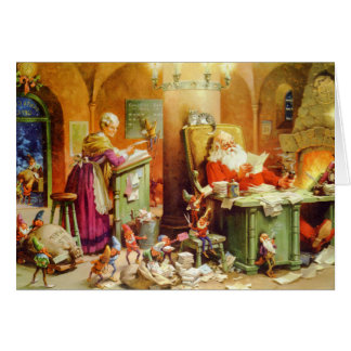 Santa & Mrs. Claus hard at work in the North Pole Card