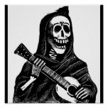 Santa Muerte with Guitar circa early 1900s Posters
