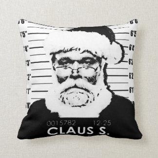 Santa Mugshot Throw Pillow