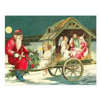 Santa Nativity Scene Christmas PostCard