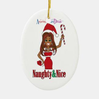 Santa Naughty & Nice Diva Ceramic Ornament