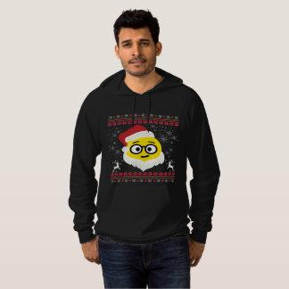 Santa Nerd Eyes Smile Emoji Ugly Christmas Hoodie