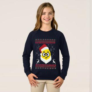 Santa Nerd Eyes Smile Emoji Ugly Christmas Sweatshirt