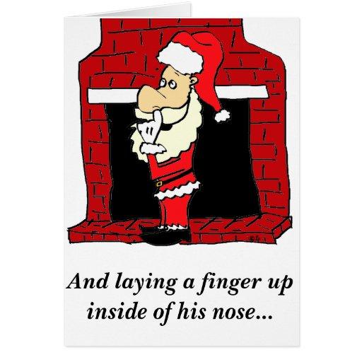 Santa Nose Pick Christmas Card Humour