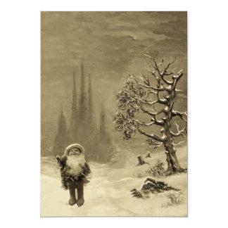 SANTA OF THE GNOMES, CHRISTMAS PARTY Sepia Brown Card