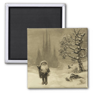SANTA OF THE GNOMES Funny Christmas Sepia Brown Square Magnet