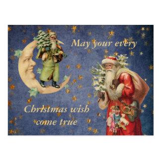 Santa on a Crescent Moon Postcard