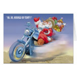 Santa on a Harley Greeting Card