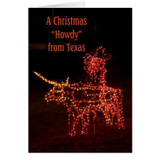 Santa on a Longhorn Texas Christmas Greeting Card