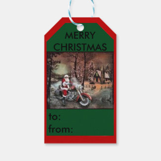Santa on a motorcycle farm scene gift tag