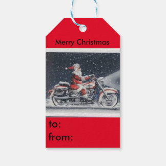 Santa on a motorcycle gift tag pack of gift tags