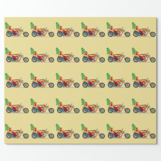 Santa on a Motorcycle Wrapping Paper
