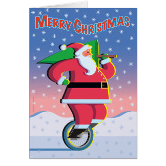 Santa on a Unicycle Holiday Card