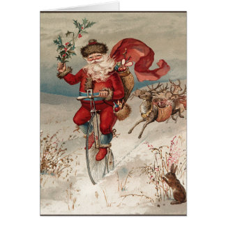 Santa on Bicycle Notecards Card