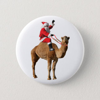 Santa On Camel Christmas 2 Inch Round Button