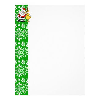 Santa on Green Background Custom Letterhead