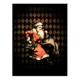 Santa on Harlequin Postcard