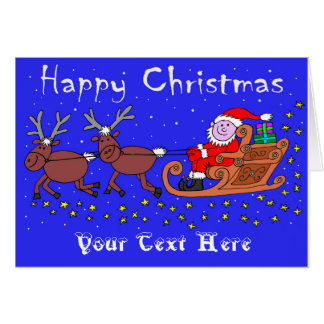 Santa on His Sleigh Christmas Card