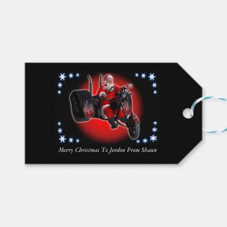 Santa on his trike motorcycle pack of gift tags