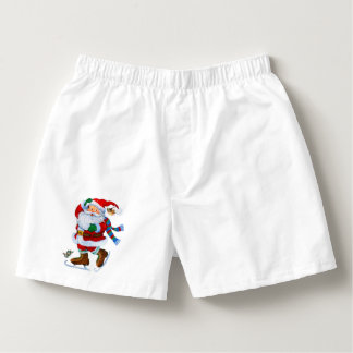 santa on ice skates men's boxers