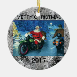 Santa on motorcycles multi year christmas ornament