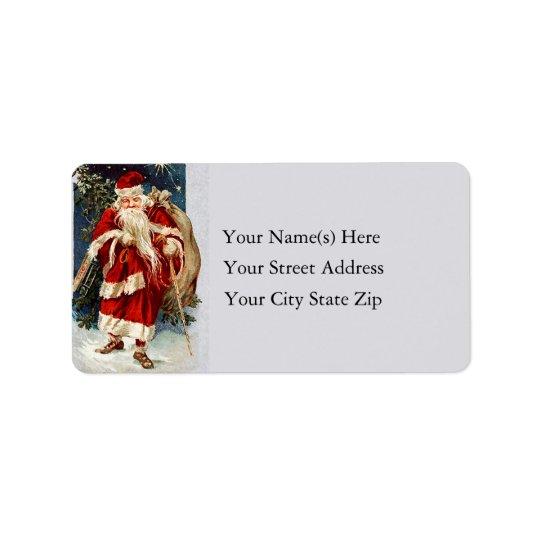 Santa on old Country Lane Vintage Address Label