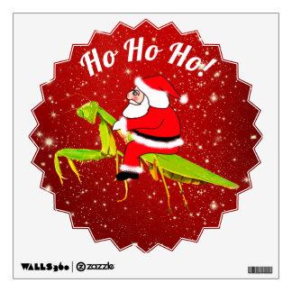 Santa On Praying Mantis Christmas Wall Decal