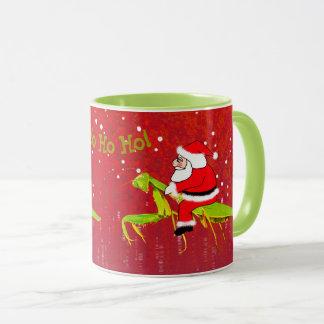 Santa On Praying Mantis Funny Weird Christmas Mug