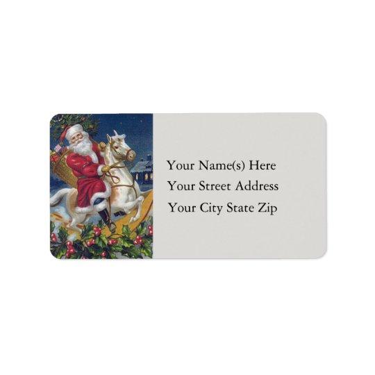 Santa on Rocking Horse Vintage Address Label
