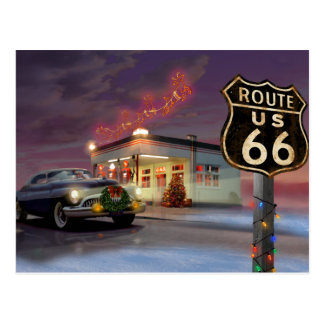 Santa on Route 66 Postcard