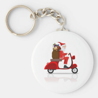 Santa on Scooter Key Chains