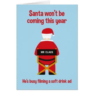 Santa On Set Christmas Card