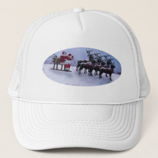 Santa on Sled with raindeers Trucker Hat