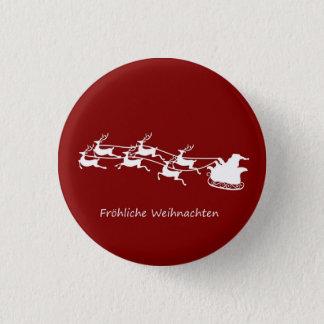 Santa On Sleigh Fröhliche Weihnachten 1 Inch Round Button