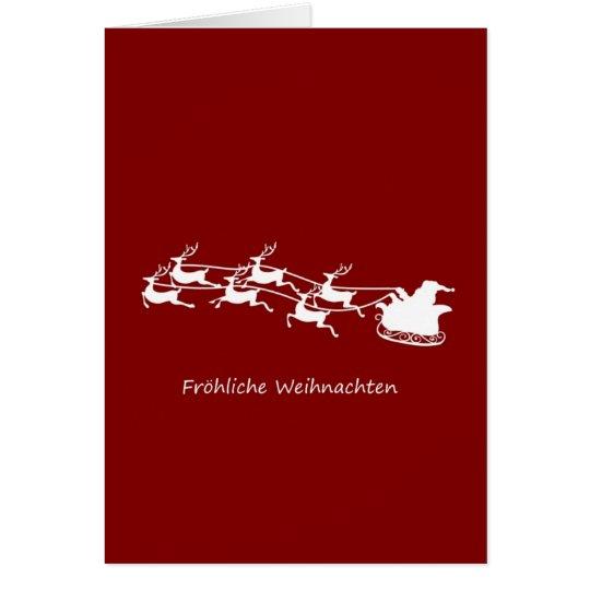 Santa On Sleigh Fröhliche Weihnachten Card
