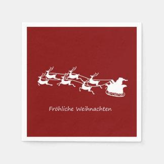 Santa On Sleigh Fröhliche Weihnachten Napkin