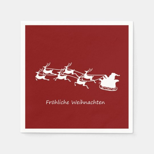 Santa On Sleigh Fröhliche Weihnachten Paper Napkins