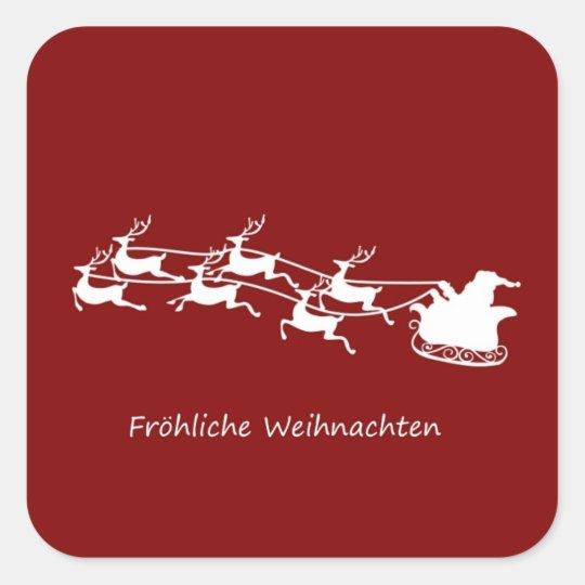 Santa On Sleigh Fröhliche Weihnachten Square Sticker