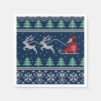 Santa On Sleigh Knitted Pattern Disposable Napkin