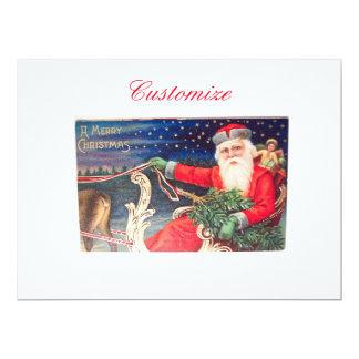 Santa on sleigh Thunder_Cove vintage Card