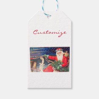 Santa on sleigh Thunder_Cove vintage Gift Tags