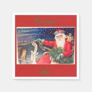 Santa on sleigh Thunder_Cove vintage Paper Napkin