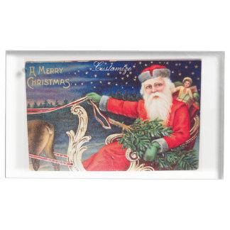 Santa on sleigh Thunder_Cove vintage Table Card Holder